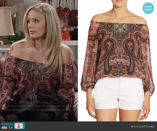 Alice + Olivia Alta Blouse worn by Melissa Ordway on The Young & the Restless