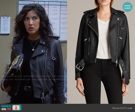 All Saints Gidley Leather Biker Jacket worn by Stephanie Beatriz on Brooklyn Nine-Nine