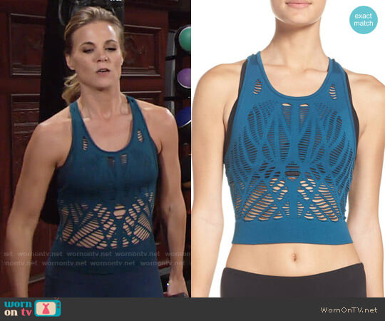 Alo Vixen Crop Top in Legion Blue worn by Phyllis Newman (Gina Tognoni) on The Young & the Restless