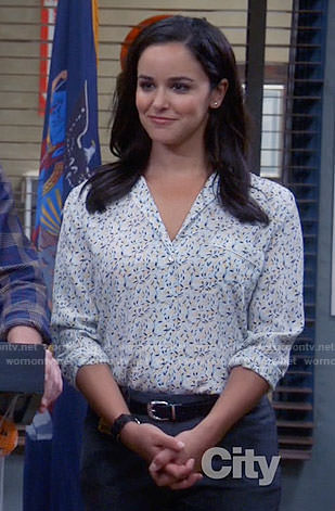 Amy's white small floral print shirt on Brooklyn Nine-Nine