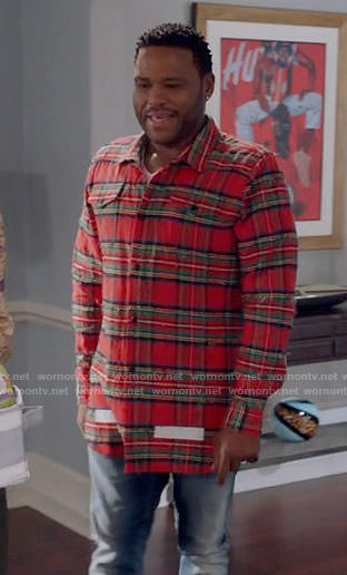 Andre's red frayed plaid shirt on Black-ish