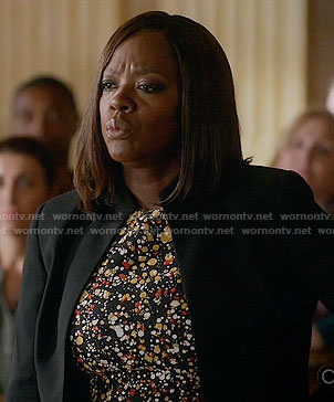 Annalise's paint splatter print dress on How to Get Away with Murder