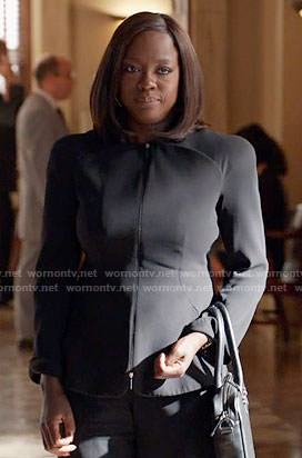 Annalise's black zip up jacket on How to Get Away with Murder