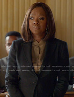 Annalise's brown silk blouse and black blazer with lace-up detail on How to Get Away with Murder
