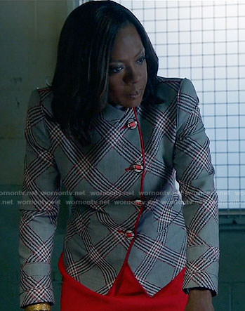 Annalise's grey plaid jacket with red trim on How to Get Away with Murder