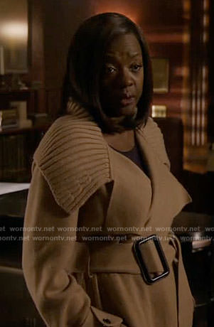 Annalise's camel ribbed collar coat on How to Get Away with Murder