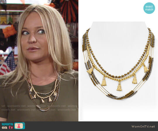 Aqua Daria Beaded Layered Necklace worn by Sharon Case on The Young & the Restless