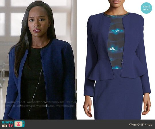 Armani Collezioni Crepe Zip-Front Peplum Jacket worn by Michaela Pratt (Aja Naomi King) on HTGAWM