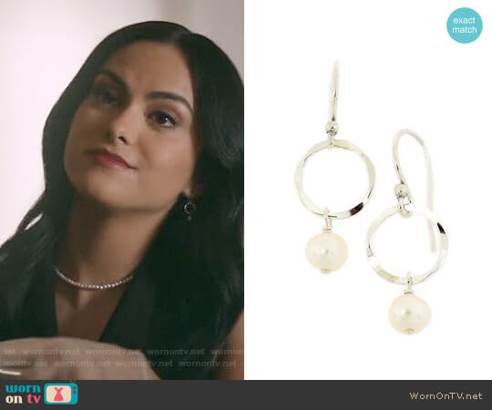 Arte Designs Small Hammered Pearl Earrings worn by Veronica Lodge (Camila Mendes) on Riverdale