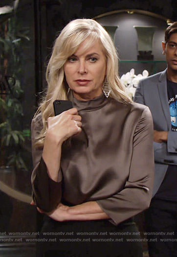 Ashley's brown satin high neck top on The Young and the Restless