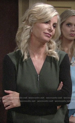 Ashley's green and black zip front top on The Young and the Restless