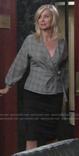 Ashley's grey plaid wrap top on The Young and the Restless