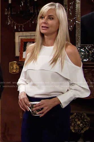Ashley's white cold-shoulder blouse on The Young and the Restless