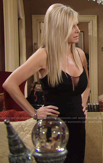 Ashley's black mesh inset dress on The Young and the Restless