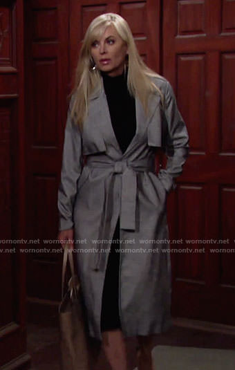 Ashley's grey trench coat on The Young and the Restless