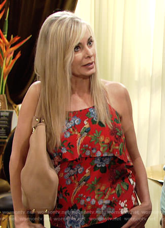 Ashley's red floral halter top on The Young and the Restless