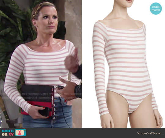 ATM Anthony Thomas Melillo Stripe Off-the-Shoulder Bodysuit worn by Chelsea Lawson (Melissa Claire Egan) on The Young & the Restless