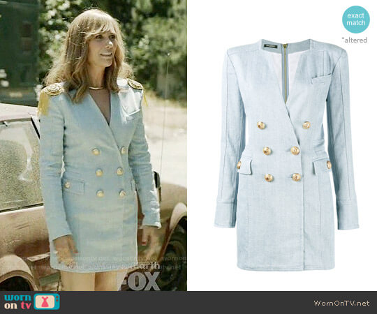 Balmain Double Breasted Denim Mini Dress worn by Pamela Brinton (Kristen Wiig) on Last Man On Earth