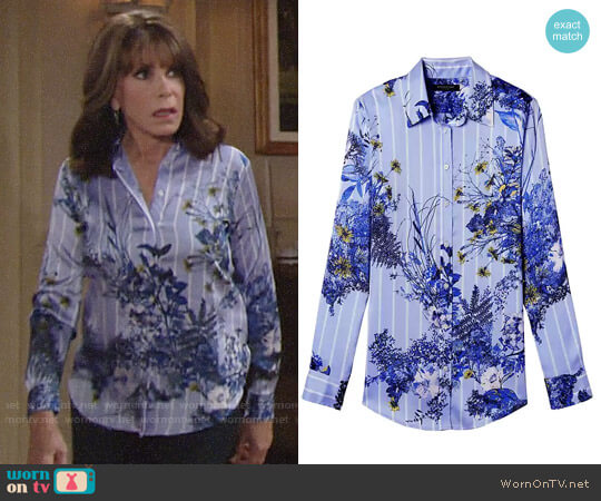 Banana Republic Dillon-Fit Floral Stripe Shirt worn by Kate Linder on The Young & the Restless
