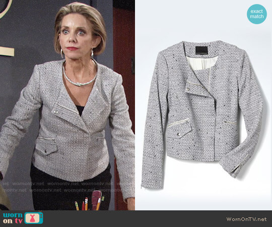 Banana Republic Tweed Crop Moto Jacket worn by Gloria Abbott Bardwell (Judith Chapman) on The Young & the Restless