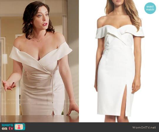 Bardot Bella Dress in White worn by Rebecca Bunch (Rachel Bloom) on Crazy Ex-Girlfriend
