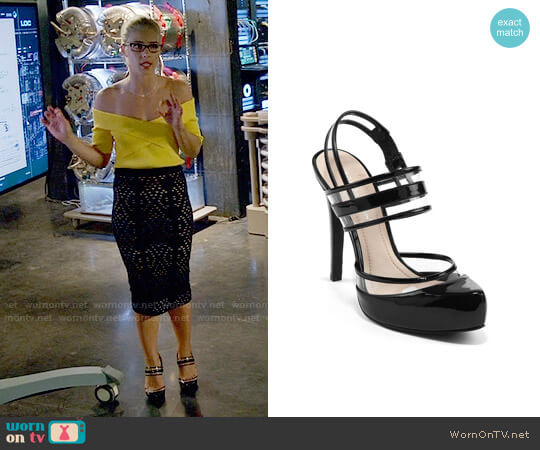 Bcbgeneration Pisces High-Heel Double Strap Clear Pump worn by Felicity Smoak (Emily Bett Rickards) on Arrow