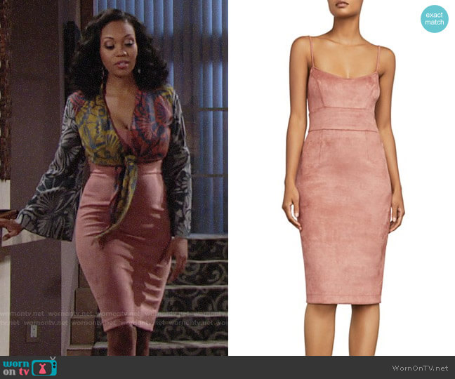 Bcbgmaxazria Alese Faux Suede Dress worn by Hilary Curtis (Mishael Morgan) on The Young & the Restless