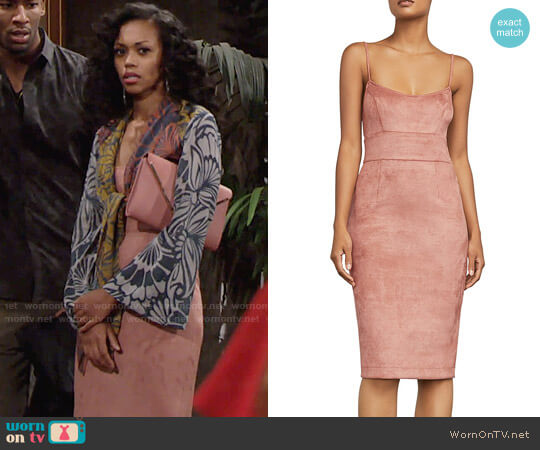 Bcbgmaxazria Alese Faux Suede Dress worn by Mishael Morgan on The Young & the Restless