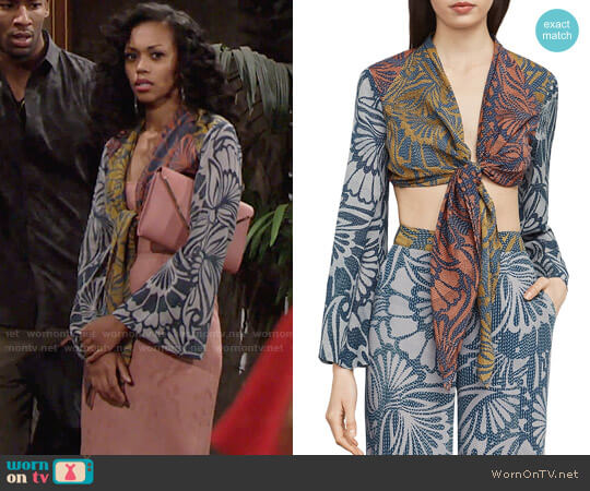 Bcbgmaxazria Cam Cropped Blouse worn by Mishael Morgan on The Young & the Restless