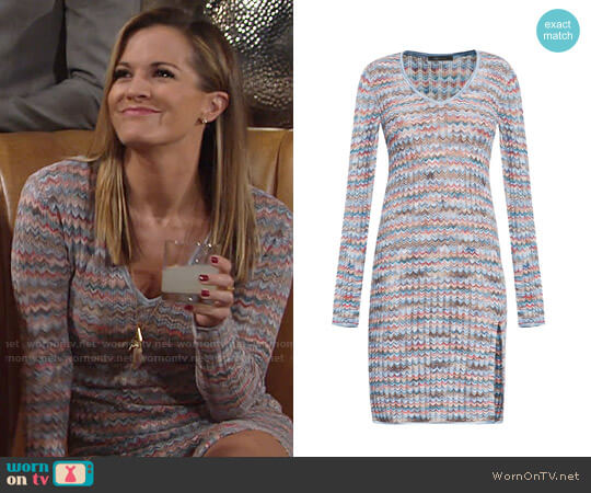 Bcbgmaxazria Macki Chevron Dress worn by Chelsea Lawson (Melissa Claire Egan) on The Young & the Restless