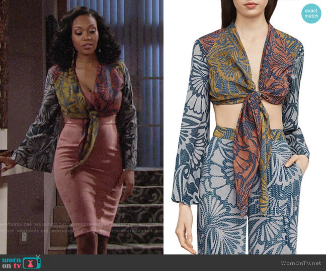 Bcbgmaxazria Cam Cropped Blouse worn by Hilary Curtis (Mishael Morgan) on The Young & the Restless
