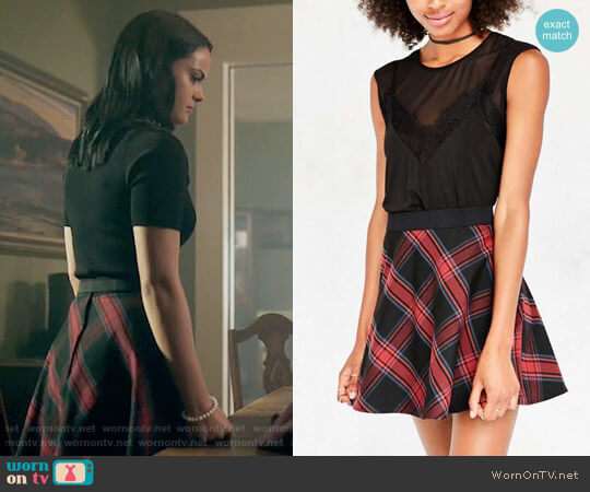 BDG Tai Plaid Circle Skirt worn by Camila Mendes on Riverdale