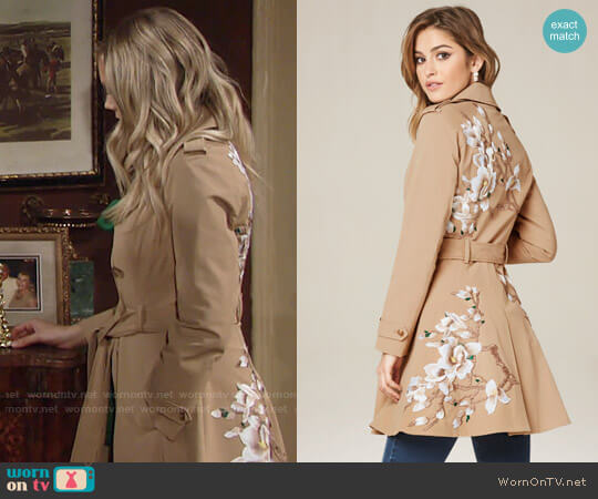Bebe Floral Flared Trench Coat worn by Abby Newman (Melissa Ordway) on The Young & the Restless