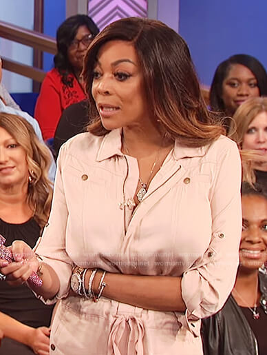 Wendy's beige denim jumpsuit on The Wendy Williams Show