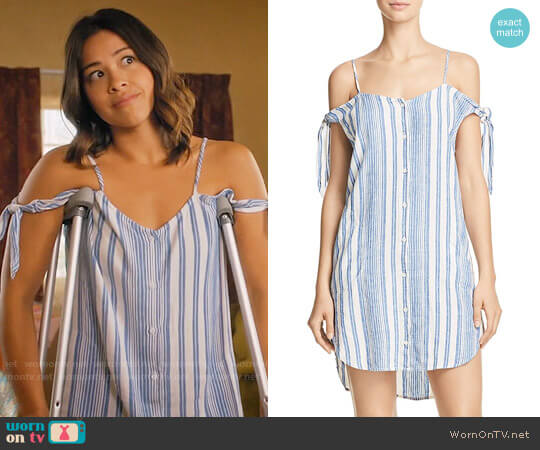 Bella Dahl Cold-Shoulder Button-Front Dress worn by Jane Villanueva (Gina Rodriguez) on Jane the Virgin