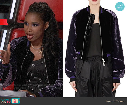 Velvet Crop Bomber Jacket by Ben Taverniti Unravel Project worn by Jennifer Hudson on The Voice