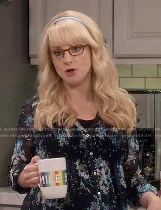 Bernadette's blue floral maternity blouse on The Big Bang Theory