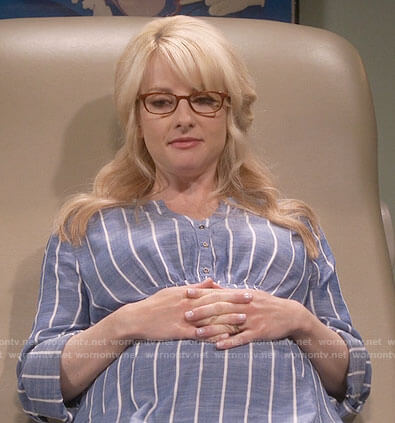 Bernadette's blue striped maternity tunic top on The Big Bang Theory