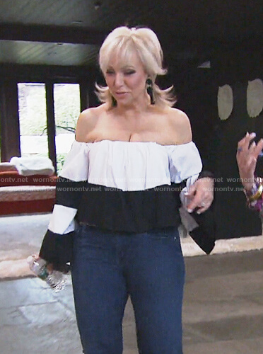 Margaret's black and white off shoulder top on The Real Housewives of New Jersey
