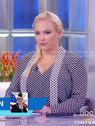 Meghan's black and white star print top on The View