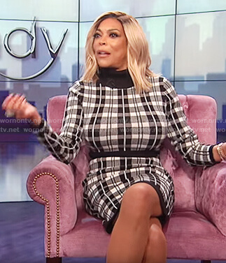 Wendy's plaid long sleeve sweater dress on The Wendy Williams Show