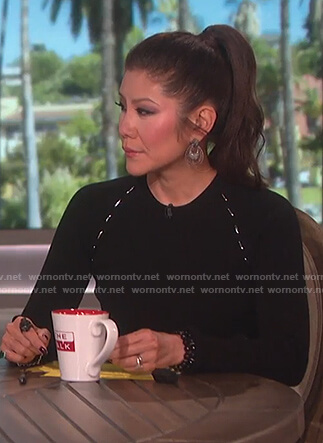 Julie's black ribbed embellished top on The Talk
