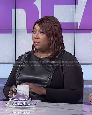 Loni's black leather button front dress on The Real