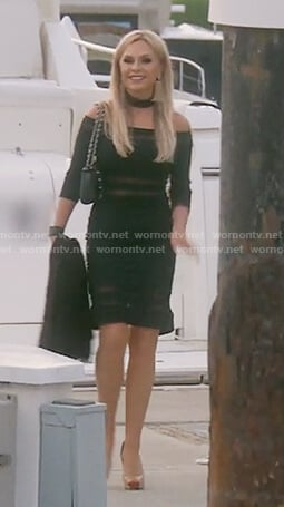 Tamra's black off shoulder mesh panel dress on The Real Housewives of OC