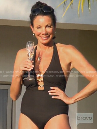 Danielle's black one piece link swimsuit on The Real Housewives of New Jersey