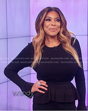 Wendy's black ribbed bell sleeve top on The Wendy Williams Show