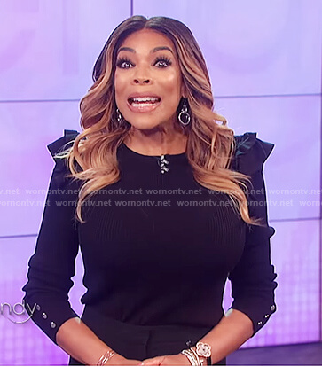 Wendy's black ruffle sweater on The Wendy Williams Show