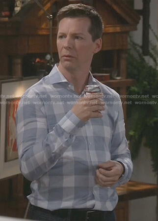 Jack's blue check dress shirt on Will and Grace