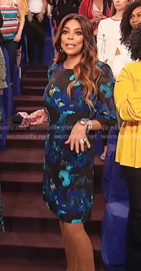 Wendy's blue floral chiffon dress on The Wendy Williams Show