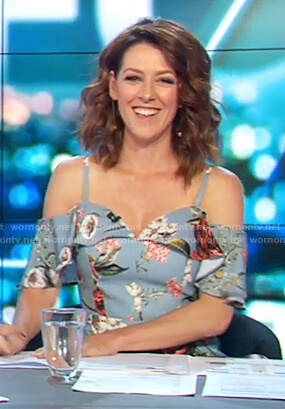 Gorgi's blue floral print dress on The Project